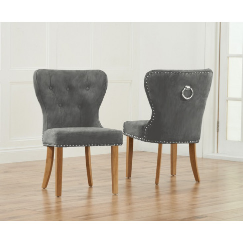 Kalim Grey Plush Fabric And Solid Oak Dining Chair W...