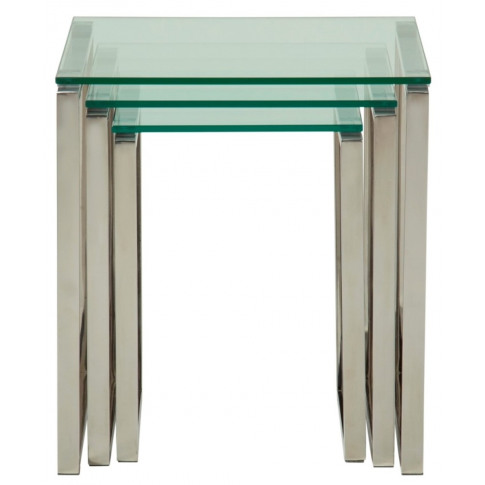 Kayla Glass Top With Silver Frame Nest Of Tables