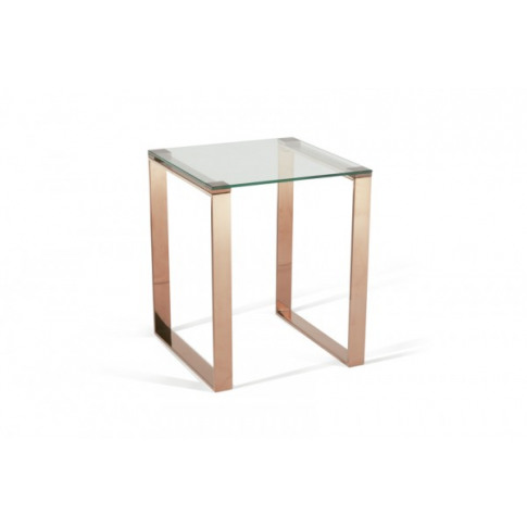 Serene Kayla Glass Top With Rose Gold Lamp Table