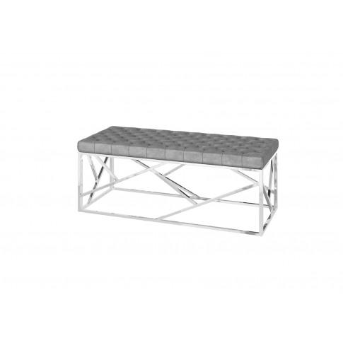 Fairmont Kieta Upholstered Silver Grey Velvet Bench