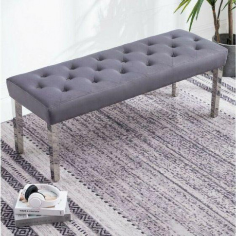 Knightsbridge Dark Grey French Velvet Bench With Chrome Legs