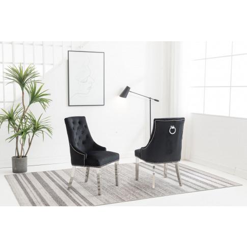 Knightsbridge Black Velvet Knocker Back Dining Chair...