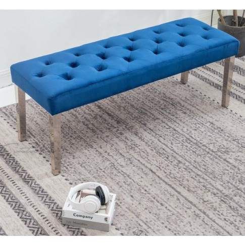 Knightsbridge Blue Velvet Bench