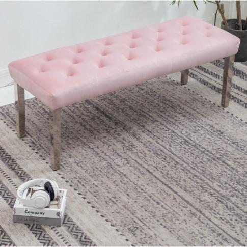 Knightsbridge Pink Velvet Bench
