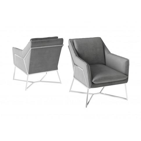 Fairmont Lara Silver Grey Velvet Lounge Chair