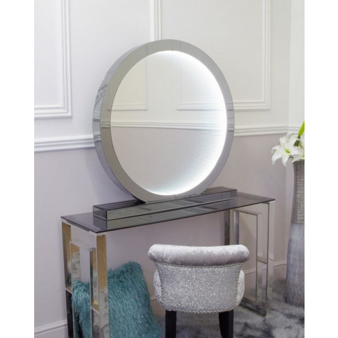Large Smoked Mirrored Infinity Round Table Lamp