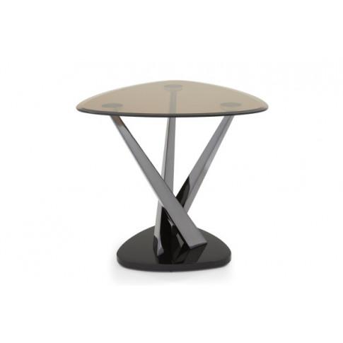 Serene Larissa Smoked Glass With Black Nickel Lamp Table