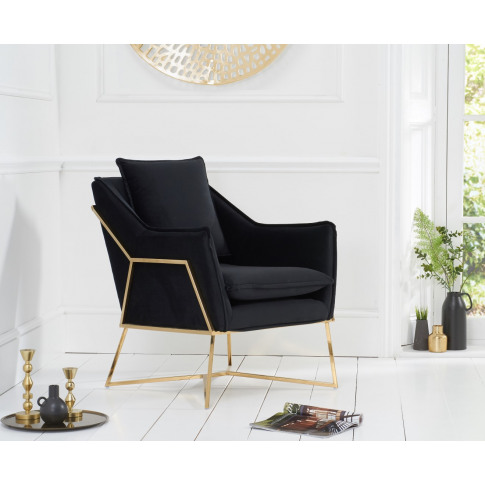 Larna Black Velvet Accent Chair