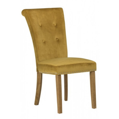 Latina Mustard Velvet Oak Leg Dining Chair