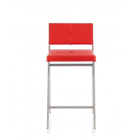 Laurel Red Faux Leather Fixed Counter Height Barstool