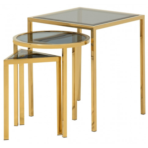 Layla Glass Top With Gold Frame Nest Of Tables
