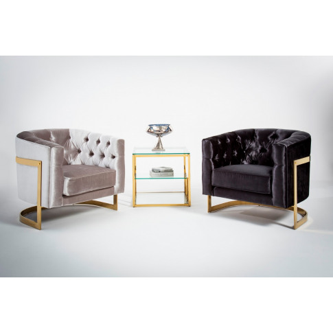Leah Black With Gold Velvet Accent Chair