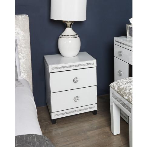 Leo White Wooden 2 Drawer Bedside Cabinet