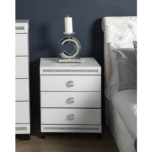 Leo White Wooden 3 Drawer Bedside Cabinet