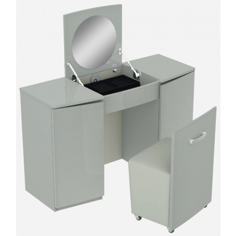 Lilly Grey High Gloss Vanity Unit With Stool