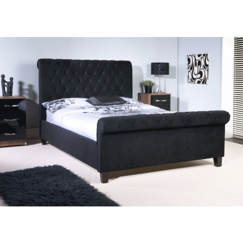 Limelight Orbit Black Fabric 4ft6 Double Bed Frame