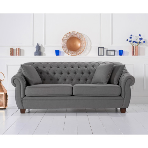 Liv Grey 3 Seater Chesterfield Fabric Sofa