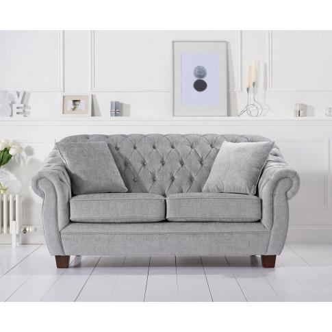 Liv Grey Plush 2 Seater Chesterfield Fabric Sofa