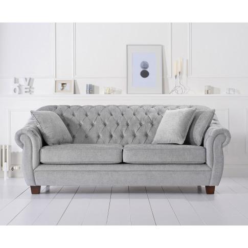 Liv Grey Plush 3 Seater Chesterfield Fabric Sofa