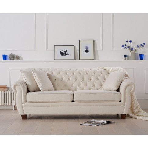 Liv Ivory 3 Seater Chesterfield Fabric Sofa