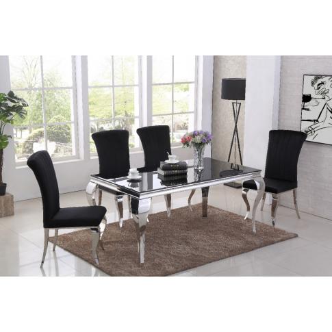 Liyana Black Glass 160cm Rectangular Dining Table