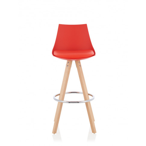 Lotus Red Faux Leather Fixed Counter Height Barstool