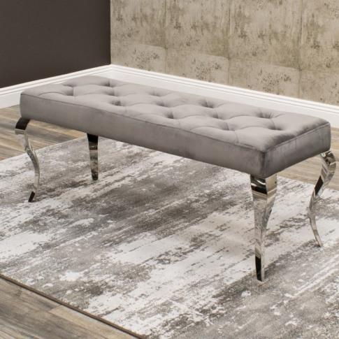 Louis Grey 130cm Velvet Bench