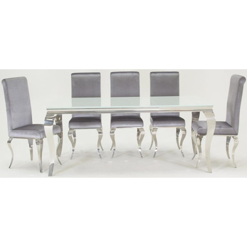 Louis 200cm White Glass Large Dining Table With 6 Si...