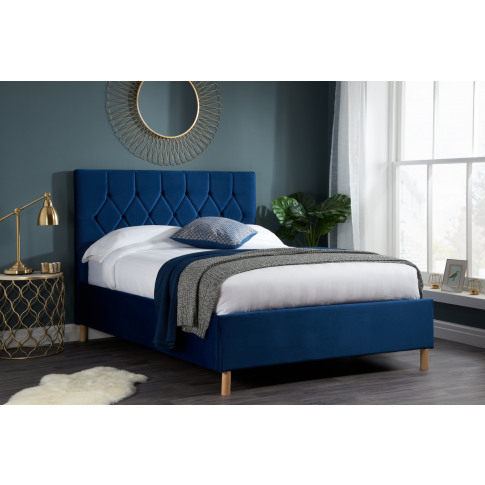Loxley Blue Fabric 4ft Small Double Bed