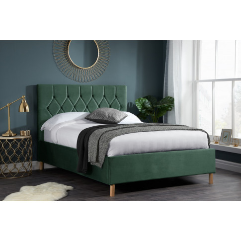 Loxley Green Fabric 5ft Kingsize Bed