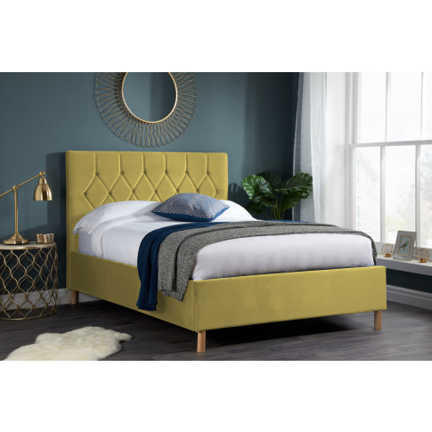 Loxley Mustard Fabric 4ft Small Double Bed