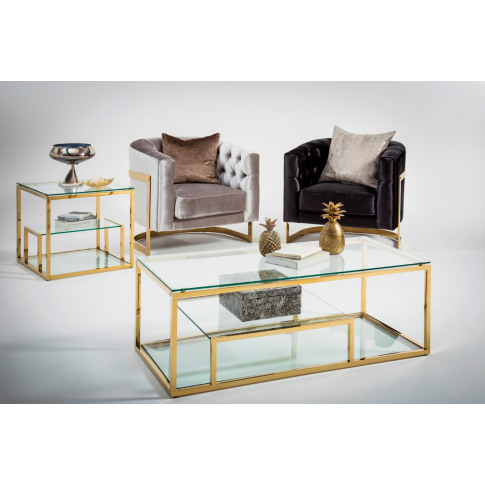Lucia Glass Top With Gold Frame Console Table