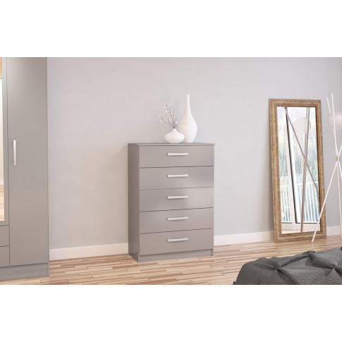 Lynx Grey High Gloss 5 Drawer Chest