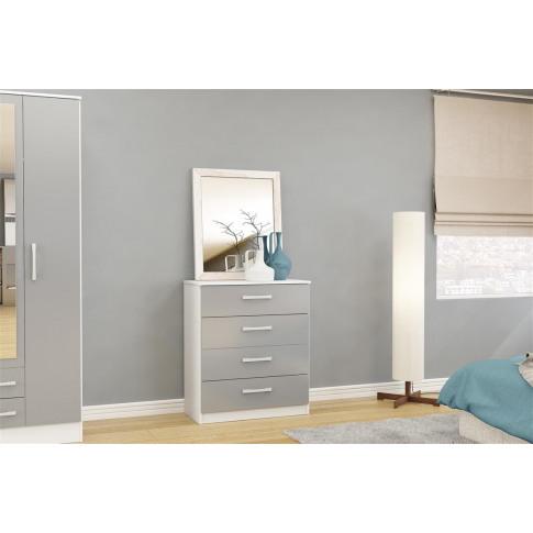 Lynx White And Grey High Gloss 4 Drawer Chest