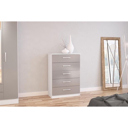 Lynx White And Grey High Gloss 5 Drawer Chest