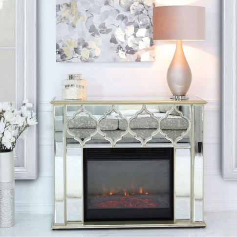 Madeira Gold Mirror Fire Surround With Electric Fire...