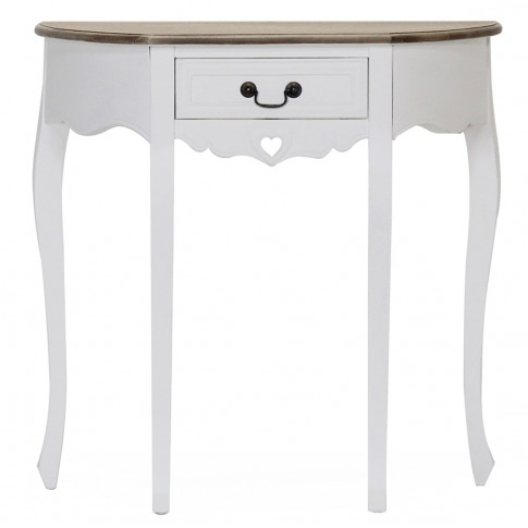 Maeve 1 Drawer Half Moon White Wooden Console Table