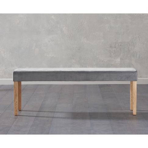 Maiya Grey Plush Velvet Large Bench