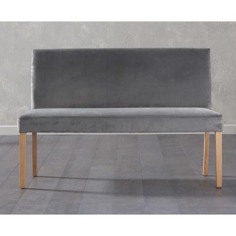 Maiya Grey Plush Velvet Large Bench With Back
