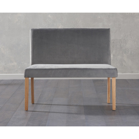 Maiya Grey Plush Velvet  Small Bench With Back