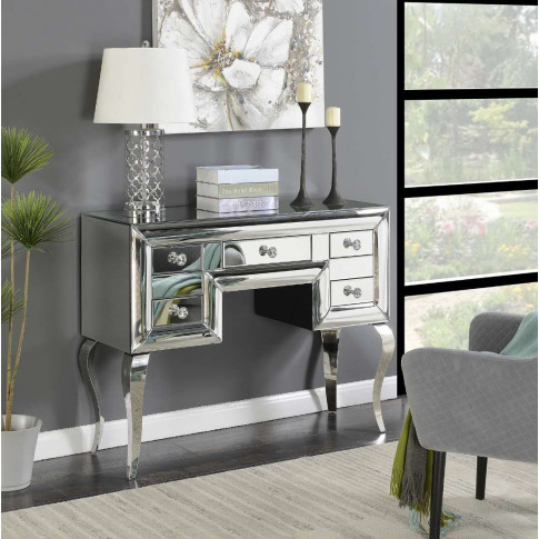 Monroe Silver Mirrored 5 Drawer Console Table