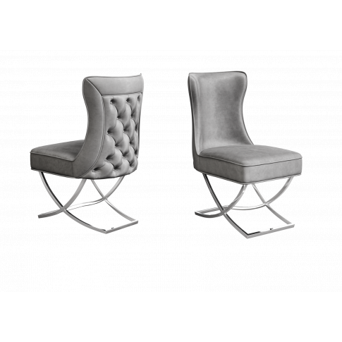 Fairmont Maria Silver Grey Velvet Dining Chair
