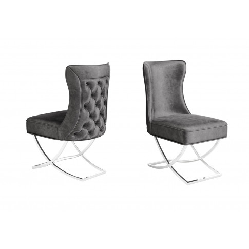 Fairmont Maria Dark Grey Velvet Dining Chair