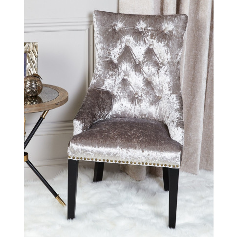 Maria Silver Crushed Velvet Dining Armchair