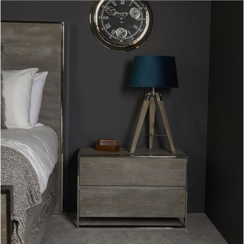 Mario Grey Wooden 2 Drawer Bedside Cabinet