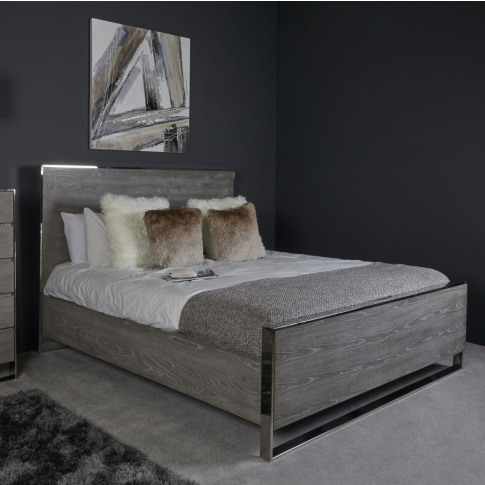 Mario Grey Wooden Super King Size Bed Frame