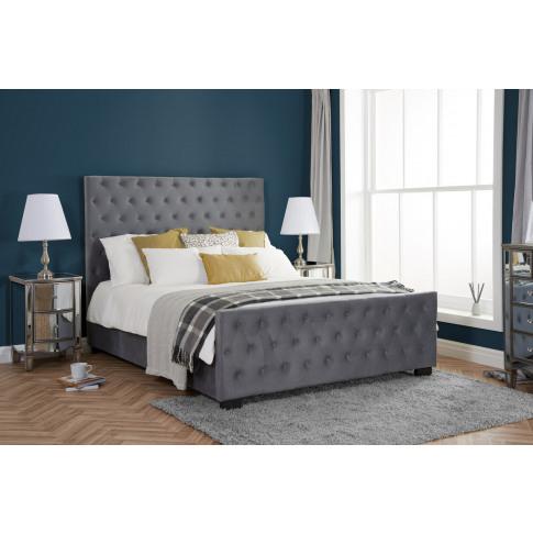 Marquis Grey Velvet 5ft Kingsize Bed
