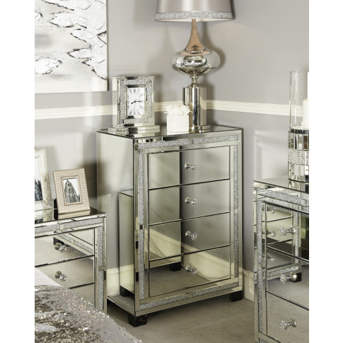 Massino Silver Mirror 4 Drawer Chest