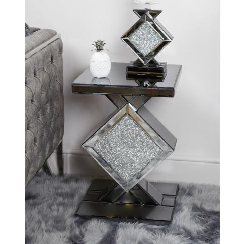 Massino Smoked Diamond Mirror End Table