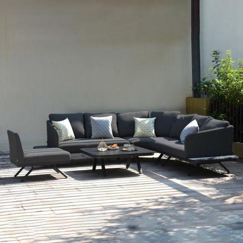 Maze Cove Charcoal Fabric Large Corner Sofa Group